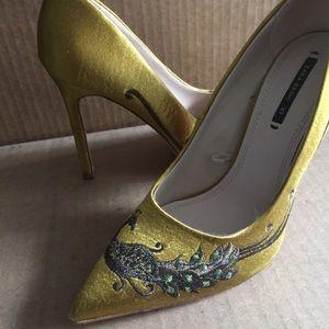 Zara Peacock Gold heels